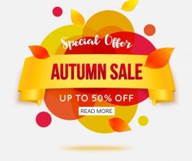 Creative autumn sale labels design vectors 02