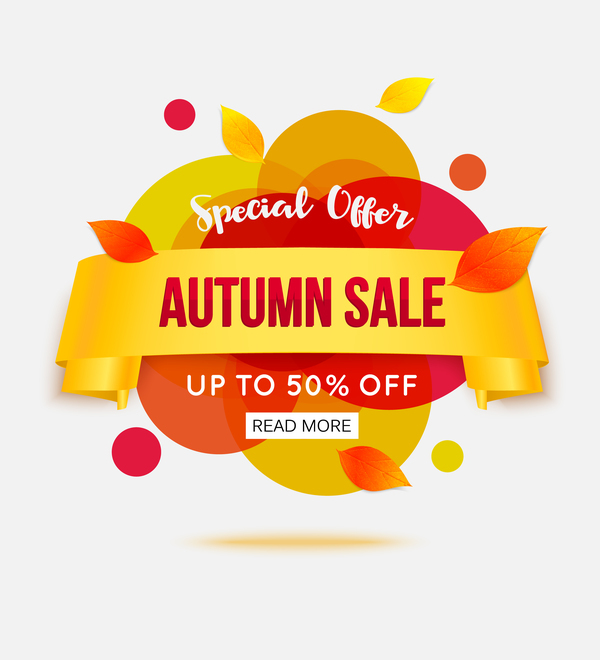 Creative autumn sale labels design vectors 02