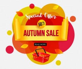 Creative autumn sale labels design vectors 04