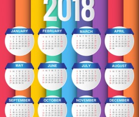 Creative calendar 2018 template with colored background vector