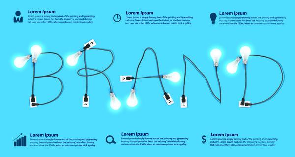 Creative light bulb business template vector