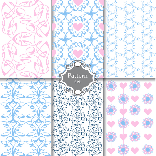 Cute Pink and blue patterns seamless texture for paper or scrap booking vector