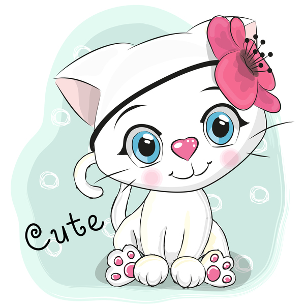 Cute cartoon cat card vector 03