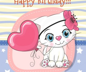 Cute cartoon cat card vector 04