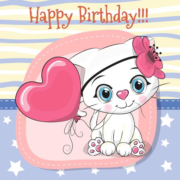 Cute cartoon cat card vector 04