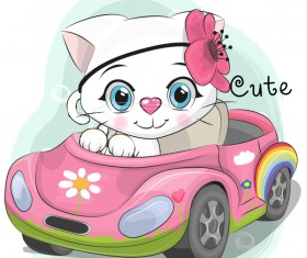 Cute cartoon cat card vector 05