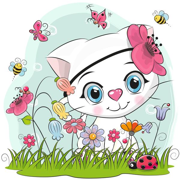 Cute cartoon cat card vector 06