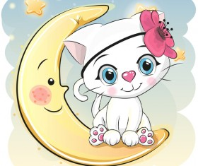 Cute cartoon cat card vector 07