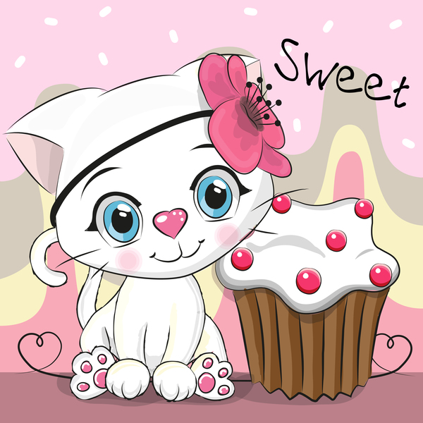 Cute cat with cupcake vector