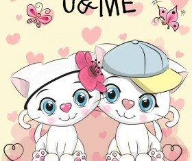 Cute couple cats cartoon vector 01