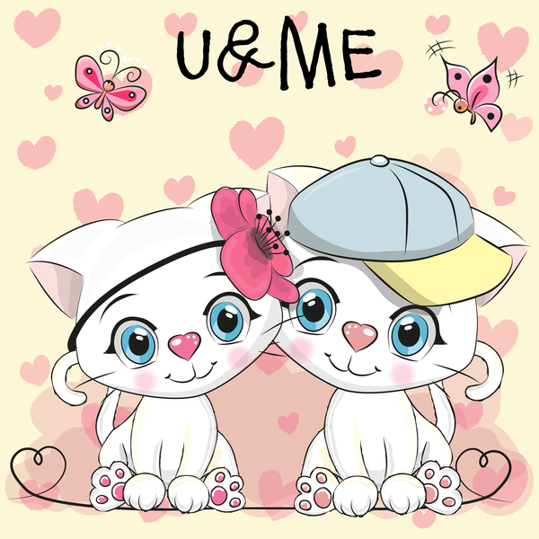Cute Couple Cats Cartoon Vector 01 Free Download