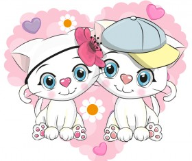 Cute couple cats cartoon vector 02