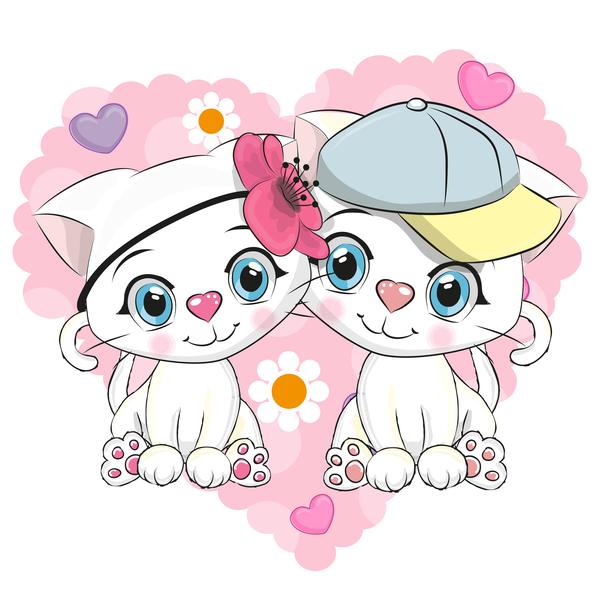 Cute couple cats cartoon vector 02