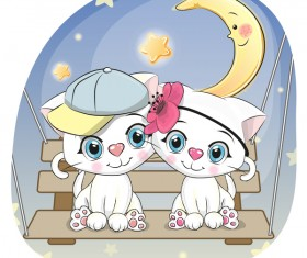 Cute couple cats cartoon vector 03