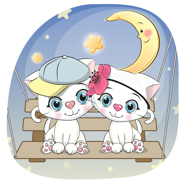 Cute couple cats cartoon vector 03