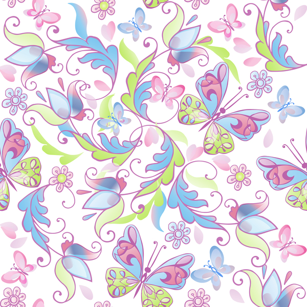 Cute floral seamless pattern with pink and blue butterflies vector