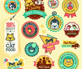 Cute house pet food labels vector