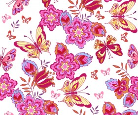 Cute pink butterflies on a white background vector