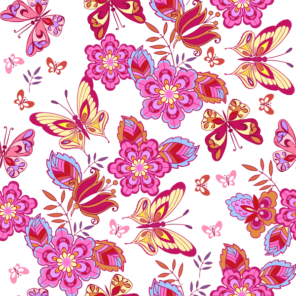 Pink Butterfly Wallpaper: Cute Pink Butterflies On A White Background Vector Free