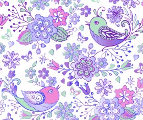 Cute seamless pattern with birds and flowers vector