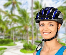 Cycling exercise woman Stock Photo 04