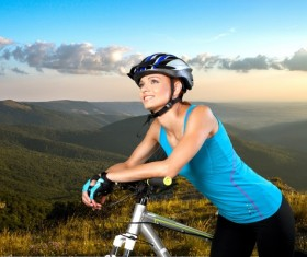 Cycling exercise woman Stock Photo 05