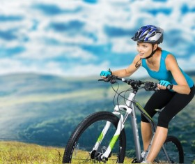 Cycling exercise woman Stock Photo 07