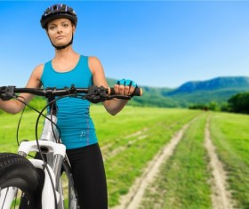 Cycling exercise woman Stock Photo 09