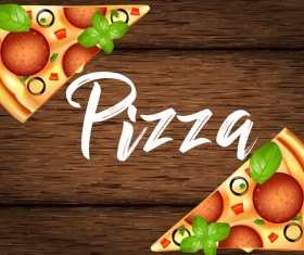 Delicious pizza with wooden background vector 01