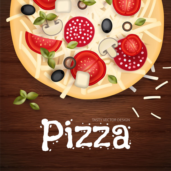 Delicious pizza with wooden background vector 02