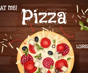 Delicious pizza with wooden background vector 03