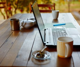 Desktop on the coffee with tablet Stock Photo 01