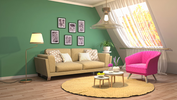 Different styles of stylish indoor living room Stock Photo 02