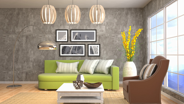 Different styles of stylish indoor living room Stock Photo 06