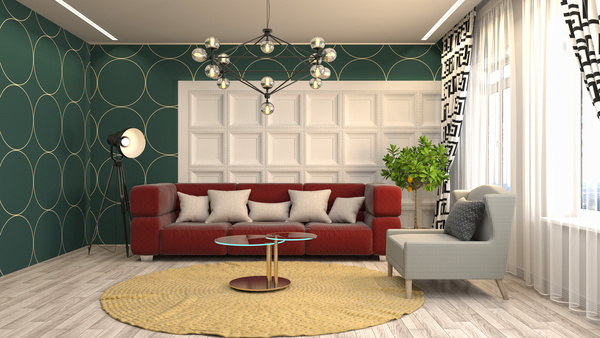 Different styles of stylish indoor living room Stock Photo 09