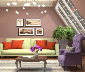 Different styles of stylish indoor living room Stock Photo 12