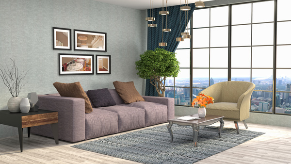 Different styles of stylish indoor living room Stock Photo 16