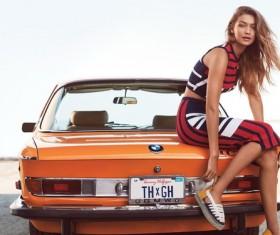 Dignified beautiful female car model Stock Photo
