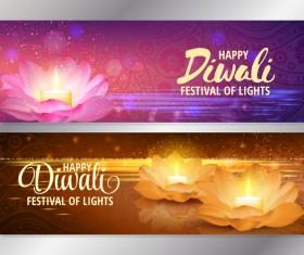 Diwali festival banners vector material