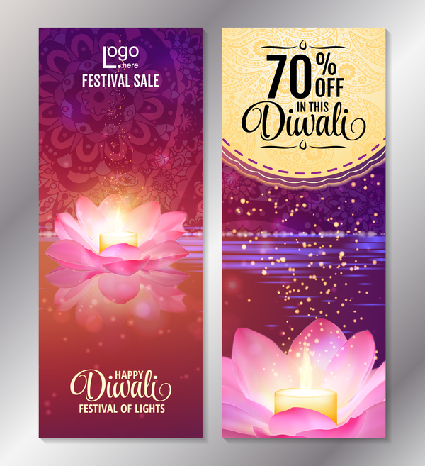 Diwali festival discount banners vector 01