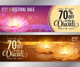 Diwali festival discount banners vector 02