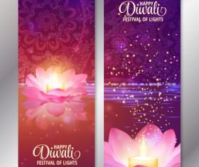 Diwali festival vertical banners vector