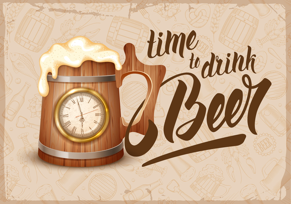 Drink beer vector background