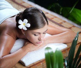 Enjoy a massage and aromatherapy woman Stock Photo 02