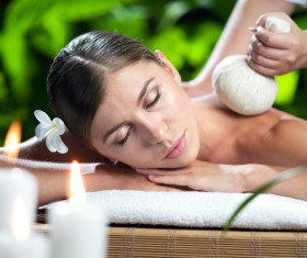 Enjoy a massage and aromatherapy woman Stock Photo 04