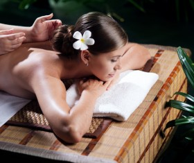Enjoy a massage and aromatherapy woman Stock Photo 05
