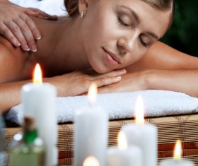 Enjoy a massage and aromatherapy woman Stock Photo 11