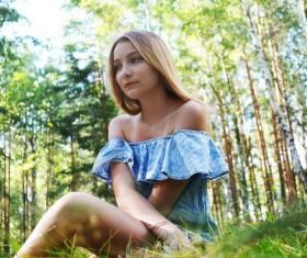 Enjoy the breath of nature girl Stock Photo