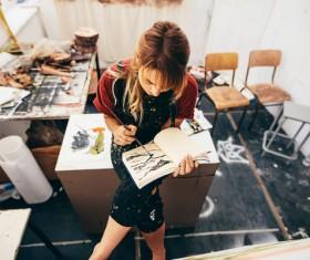 Female creation artist painting Stock Photo 03