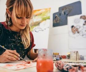 Female creation artist painting Stock Photo 06